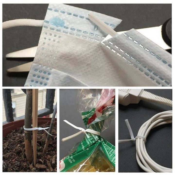 """27 Astonishing Life Hacks - """"I cut open my disposable masks and take-off the twisted ties. They are stronger and longer than the average ones + it makes them easier to recycle."""""""