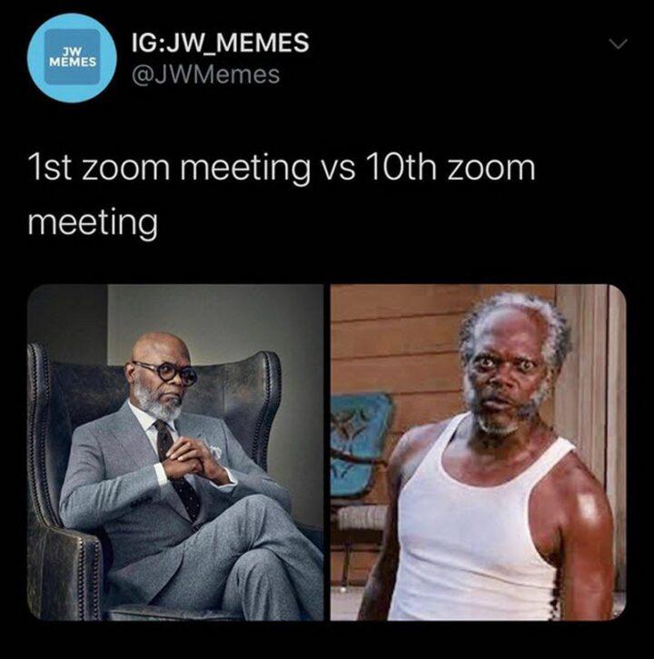 """39 Funny Meetings Memes - """"1st Zoom meeting vs 10th Zoom meeting."""""""