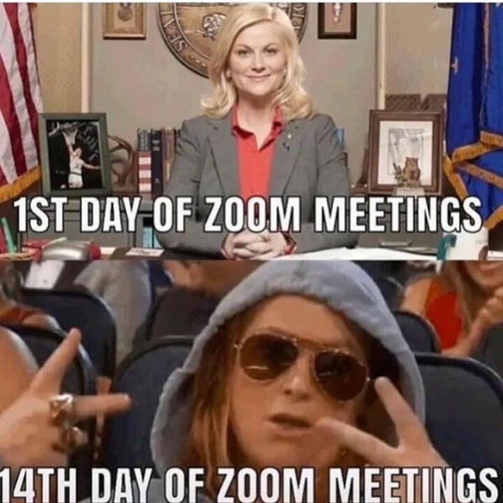 """1st day of Zoom meetings vs 14th day of Zoom meetings."""
