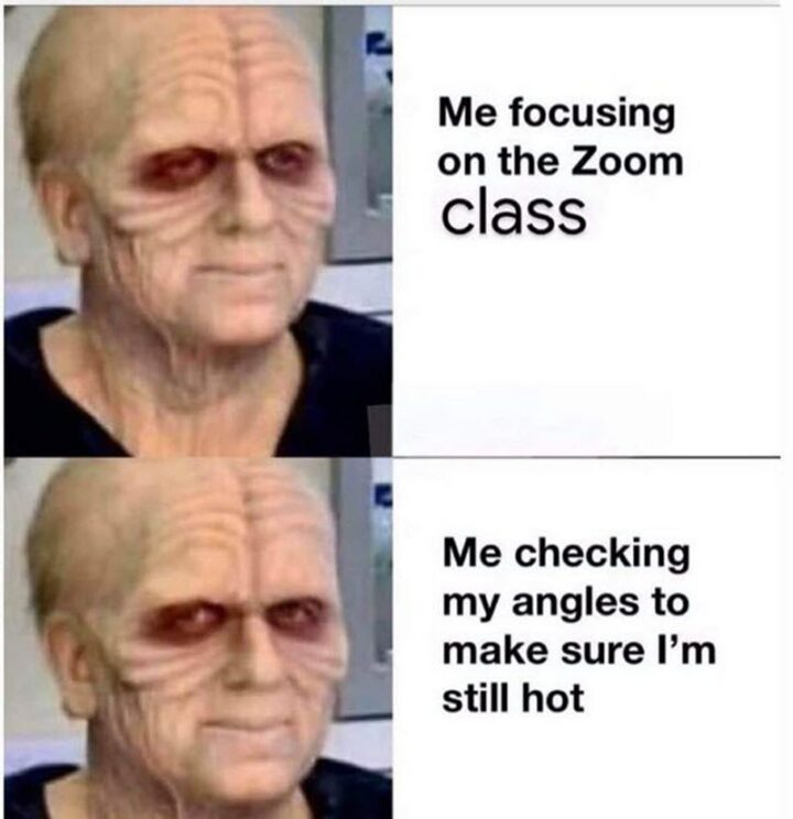 """39 Funny Meetings Memes - """"Me focusing on the Zoom class vs Me checking my angles to make sure I'm still hot."""""""