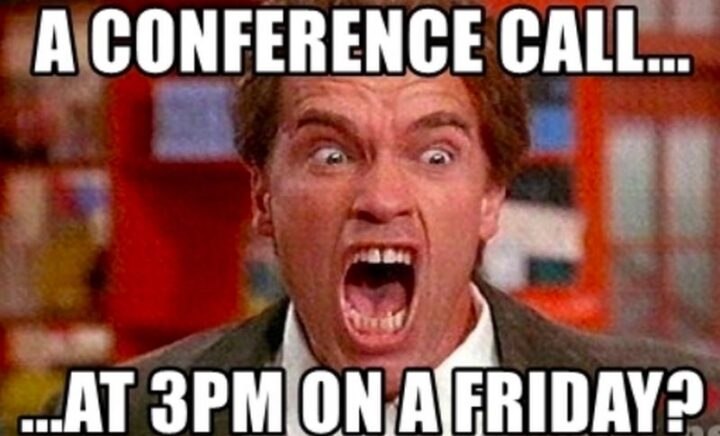 """31 Funny Working From Home Memes - """"A conference call...At 3pm on a Friday?"""""""