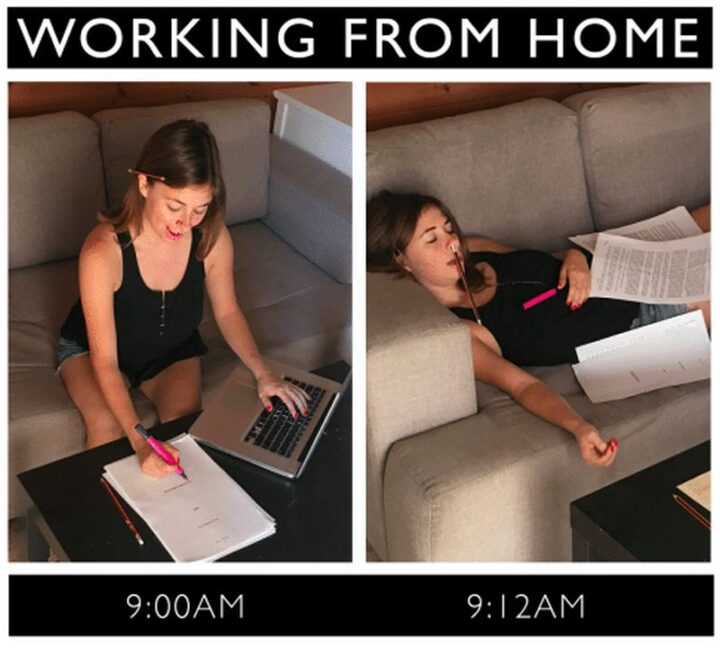 """""""Working from home: 9:00am vs 9:12am."""""""