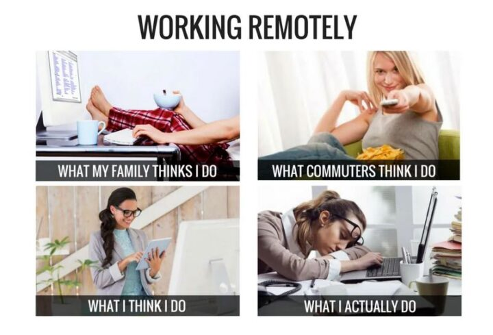"""""""Working remotely. What my family thinks I do. What commuters think I do. What I think I do. What I actually do."""""""
