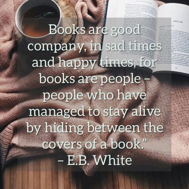 """""""Books are good company, in sad times and happy times, for books are people - people who have managed to stay alive by hiding between the covers of a book."""" - E.B. White"""