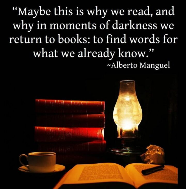 """""""Maybe this is why we read, and why in moments of darkness we return to books: to find words for what we already know."""" - Alberto Manguel"""