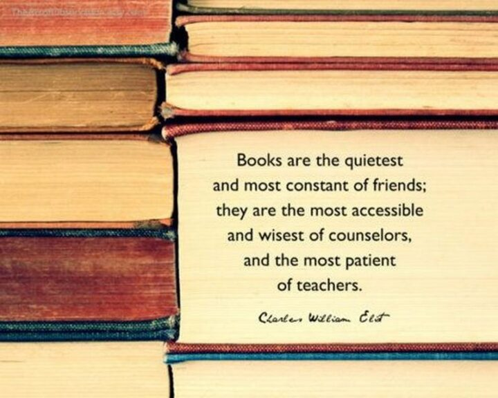 """""""Books are the quietest and most constant of friends; they are the most accessible and wisest of counselors, and the most patient of teachers."""" - Charles W. Eliot"""