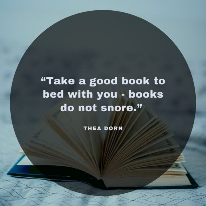 """""""Take a good book to bed with you - books do not snore."""" - Thea Dorn"""