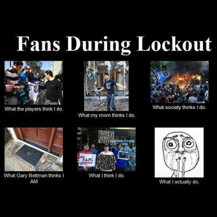"""75 Funny Hockey Memes - """"Fans during lockout: What the players think I do. What my mom thinks I do. What society thinks I do. What Gary Bettman thinks I am. What I think I do. What I actually do."""""""