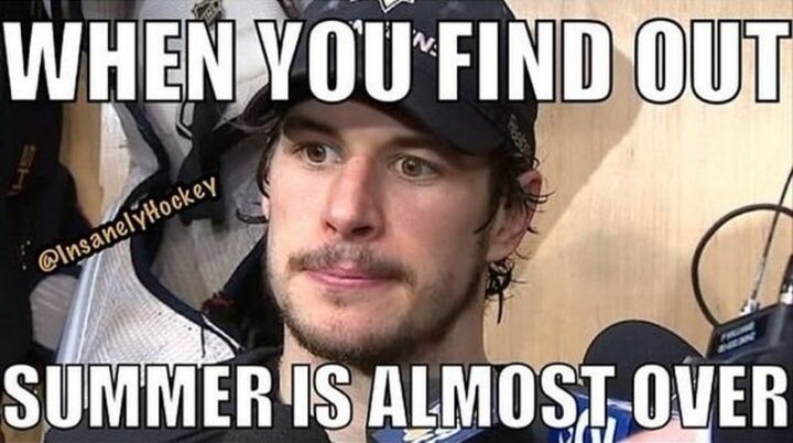 """75 Funny Hockey Memes - """"When you find out summer is almost over."""""""