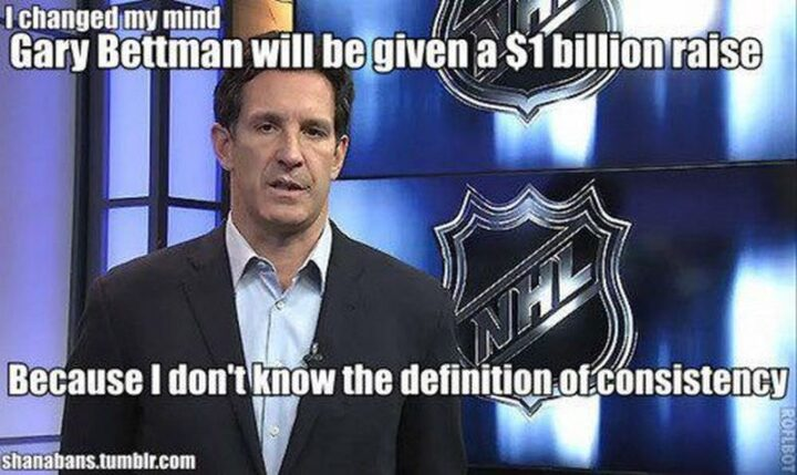 """75 Funny Hockey Memes - """"Gary Bettman will be given a $1 billion raise because I don't know the definition of consistency."""""""