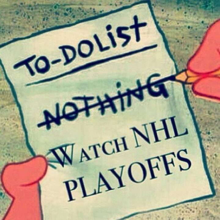 """""""To-Do List: Nothing. Watch NHL Playoffs."""""""