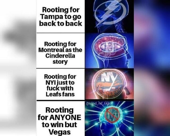 """""""Rooting for Tampa Bay Lightning to go back to back. Rooting for the Montreal Canadiens as the Cinderella story. Rooting for the New York Islanders just to [censored] with Toronto Maple Leafs fans. Rooting for ANYONE to win but Vegas Golden Knights."""