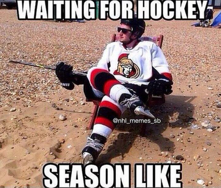 """Waiting for hockey season like..."""