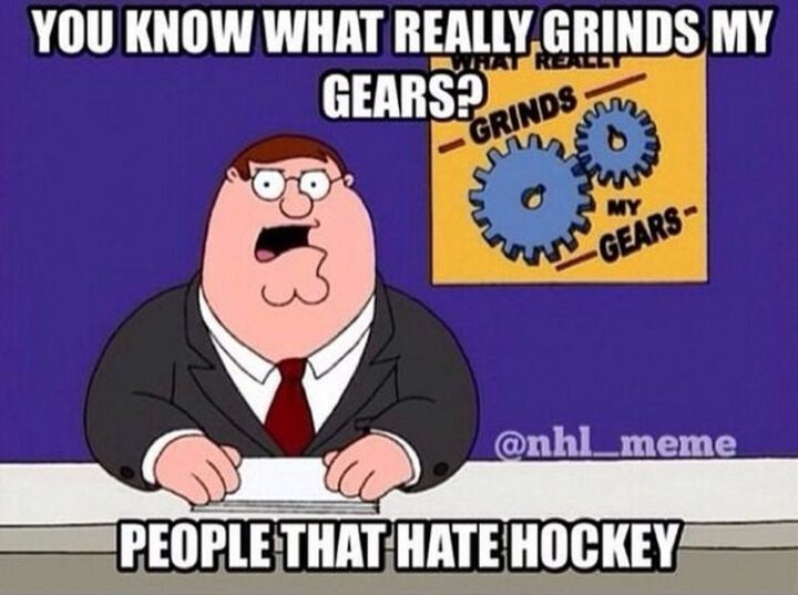 """""""You know what really grinds my gears? People that hate hockey."""""""