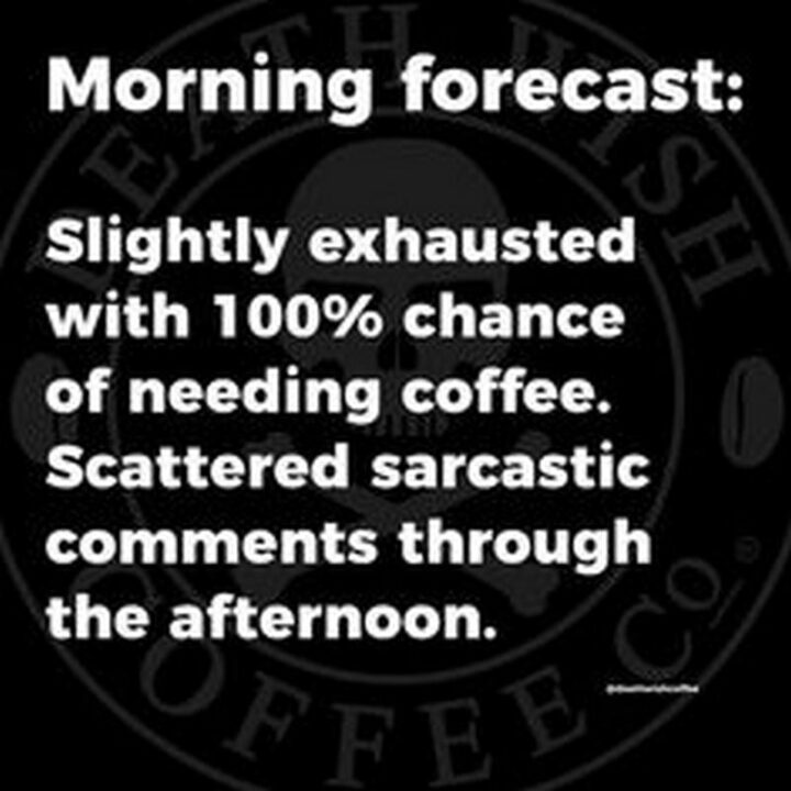 """""""Morning forecast: Slightly exhausted with 100% chance of needing coffee. Scattered sarcastic comments through the afternoon."""""""
