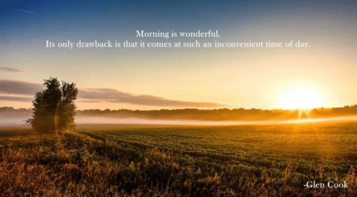 """""""Morning is wonderful. Its only drawback is that it comes at such an inconvenient time of day."""" - Glen Cook"""