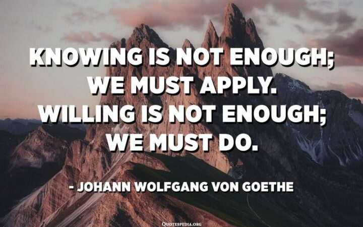"""""""Knowing is not enough; We must apply. Wishing is not enough; We must do."""" - Johann Wolfgang Von Goethe"""
