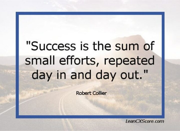 """""""Success is the sum of small efforts, repeated day in and day out."""" - R Collier"""