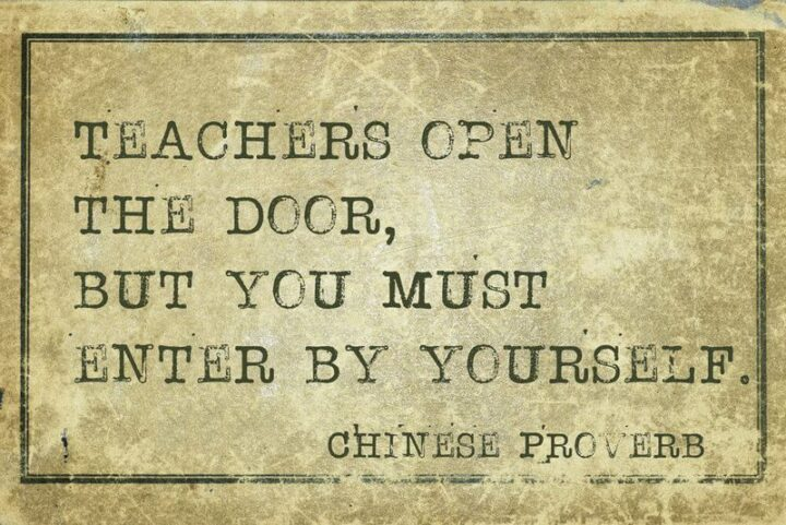 """""""Teachers open the door, but you must enter it yourself."""" - Chinese proverb"""