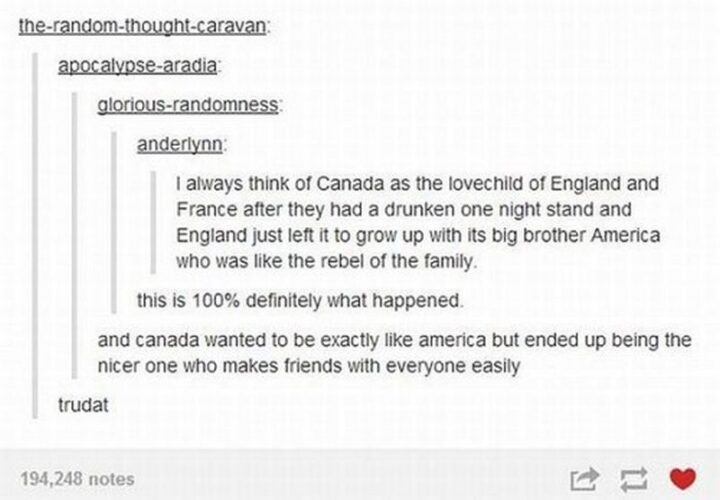 """47 Funny Canadian Memes - """"I always think of Canada as the lovechild of England and France after they had a drunken one-night stand and England just left it to grow up with its big brother America who was like the rebel of the family. This is 100% definitely what happened. And Canada wanted to be exactly like America but ended up being the nicer one who makes friends with everyone easily. Trudat."""""""