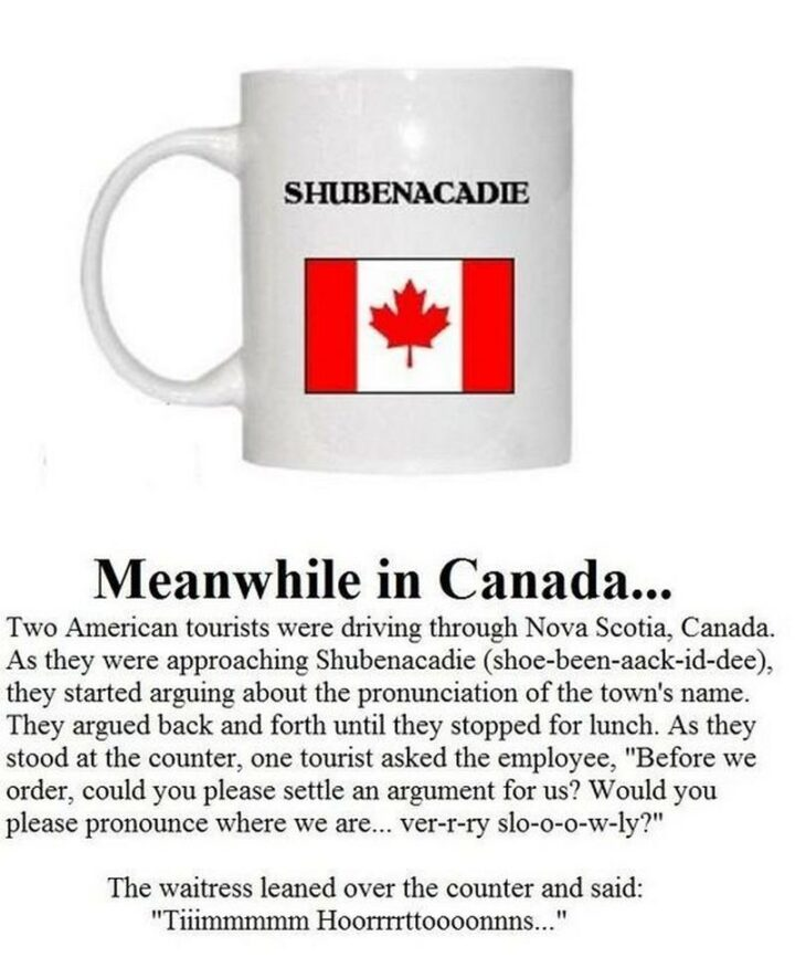"""47 Funny Canadian Memes - """"Meanwhile in Canada...Two American tourists were driving through Nova Scotia, Canada. As they were approaching Shubenacadie (shoe-been-aack-id-dee), they started arguing about the pronunciation of the town's name. They argued back and forth until they stopped for lunch. As they stood at the counter, one tourist asked the employee, """"Before we order, could you please settle an argument for us? Would you please pronounce where we are...ver-r-ry slo-o-o-w-ly?"""" The waitress leaned over the counter and said: """"Tiiimmm Hoorrrrttooooonnns...""""."""""""