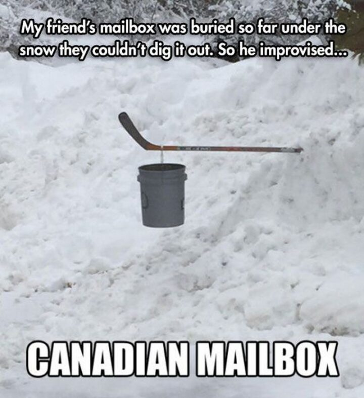 """""""My friend's mailbox was buried so far under the snow they couldn't dig it out. So he improvised...the Canadian mailbox."""""""