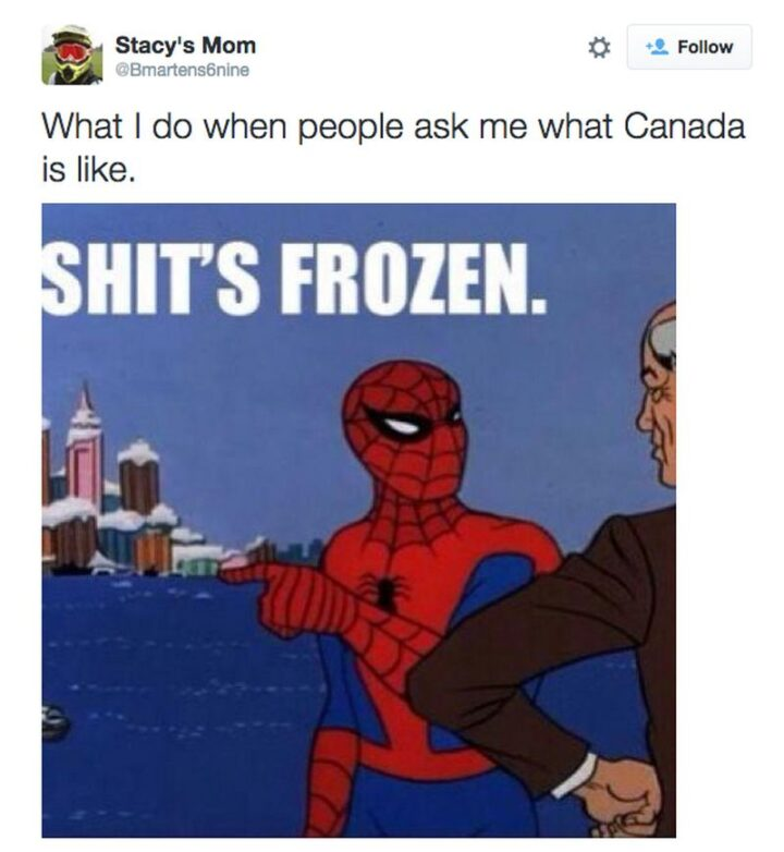 """""""What I do when people ask me what Canada is like...Shit's frozen."""""""