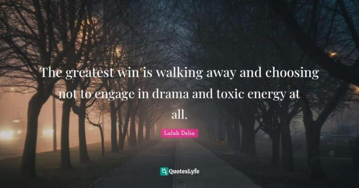 """""""The greatest win is walking away and choosing not to engage in drama and toxic energy at all."""" - Lalah Delia"""