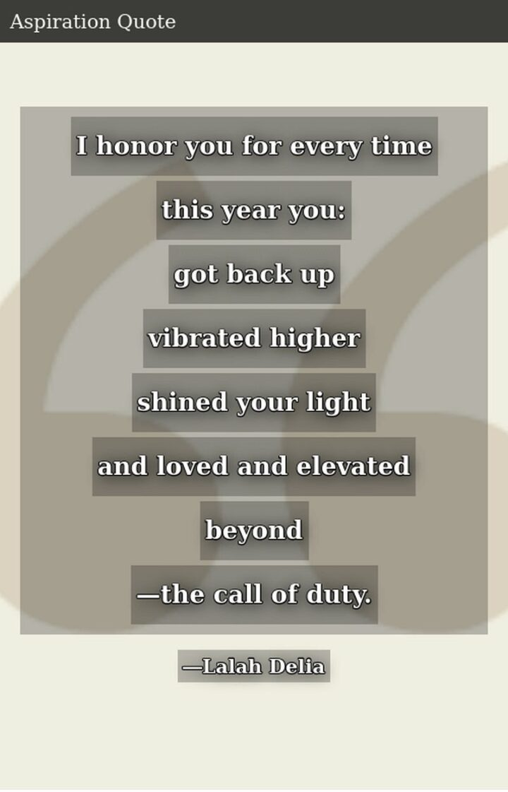 """""""I honor you for every time this year you: Got back up, vibrated higher, shined your light and loved and elevated beyond - the call of duty."""" - Lalah Delia"""