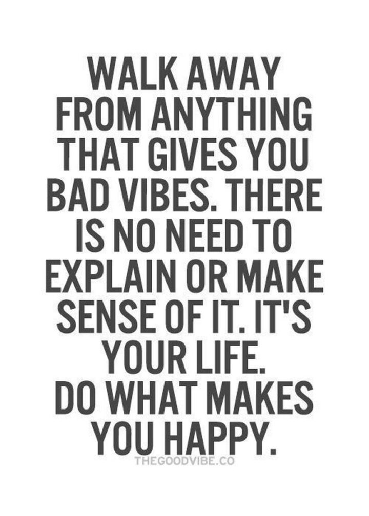 """""""Walk away from anything that gives you bad vibes. There is no need to explain or make sense of it. It's your life. Do what makes you happy."""""""