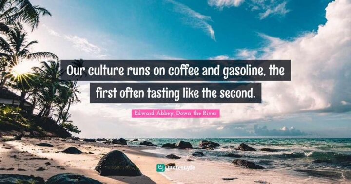 """""""Our culture runs on coffee and gasoline, the first often tasting like the second."""" - Edward Abbey, Down the River"""
