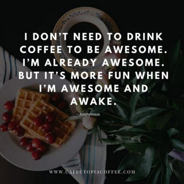 """""""I don't need to drink coffee to be awesome. I'm already awesome. But it's more fun when I'm awesome and awake."""" - Anonymous"""