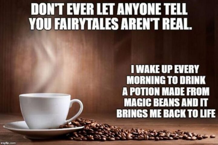 """""""Don't ever let anyone tell you fairytales aren't real. I wake up every morning to drink a potion made from magic beans and it brings me back to life."""""""