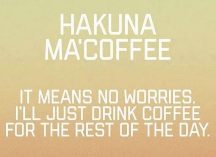 """""""Hakuna ma'coffee. It means no worries. I'll just drink coffee for the rest of the day."""""""