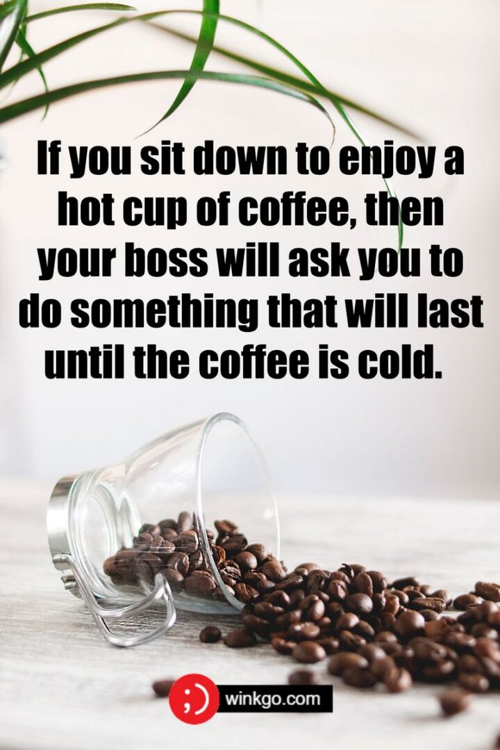 """""""If you sit down to enjoy a hot cup of coffee, then your boss will ask you to do something that will last until the coffee is cold."""""""