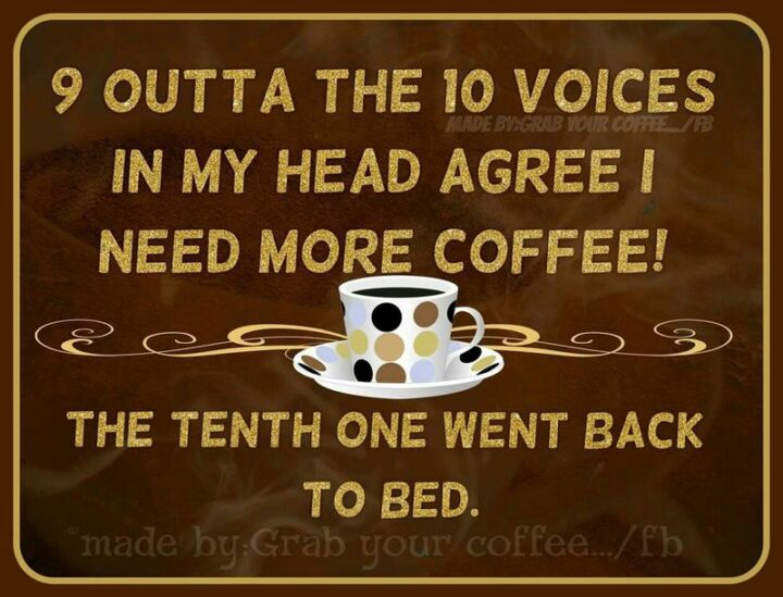 """""""Nine outta the ten voices in my head agree I need more coffee! The tenth one went back to bed."""""""