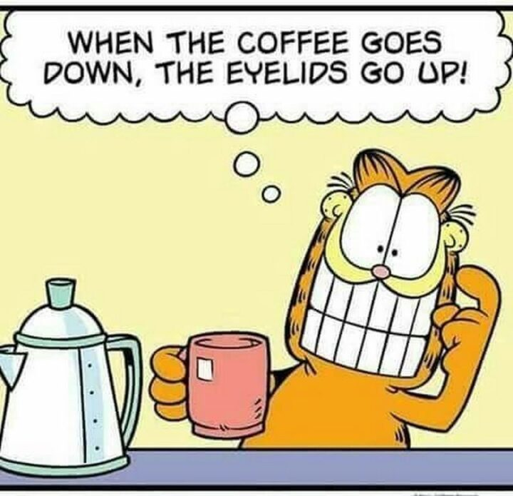 """""""When the coffee goes down, the eyelids go up!"""""""