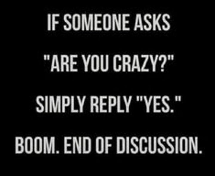 """""""If someone asks """"Are you crazy?"""" simply reply """"Yes"""". Boom. End of discussion."""""""