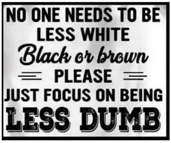 """""""No one needs to be less white, black, or brown. Please just focus on being less dumb."""""""