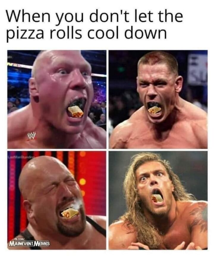 """65 Stupid Memes: """"When you don't let the Pizza Rolls cool down."""""""