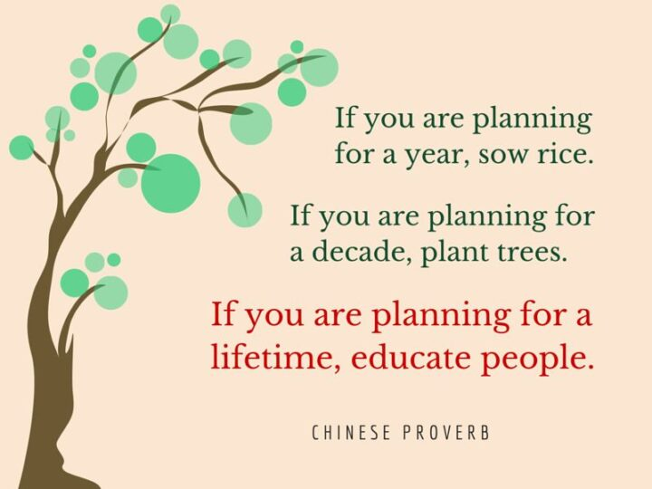 """""""If you are planning for a year, sow rice. If you are planning for a decade, plant trees. If you are planning for a lifetime, educate people."""" - Chinese Proverb"""