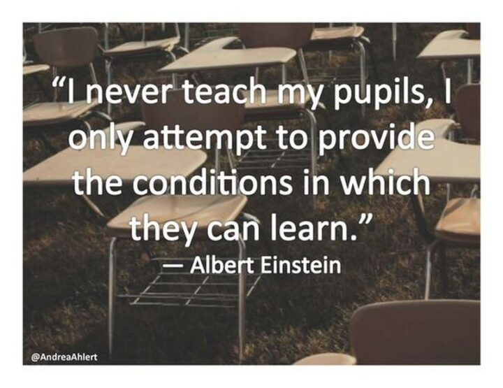 """""""I never teach my pupils; I only attempt to provide the conditions in which they can learn."""" - Albert Einstein"""