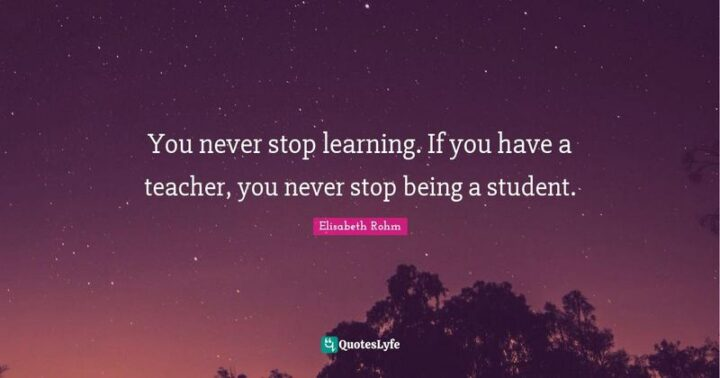 """""""You never stop learning. If you have a teacher, you never stop being a student."""" - Elisabeth Rohm"""