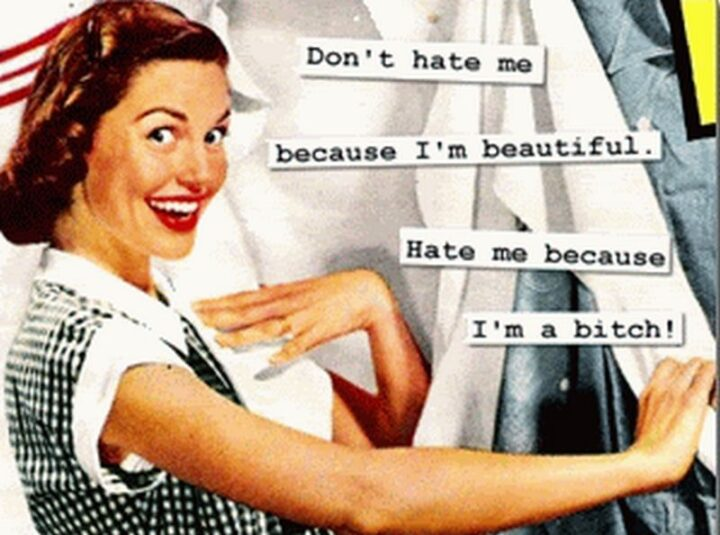 """Vintage Humor - """"Don't hate me because I'm beautiful. Hate me because I'm a [censored]."""""""