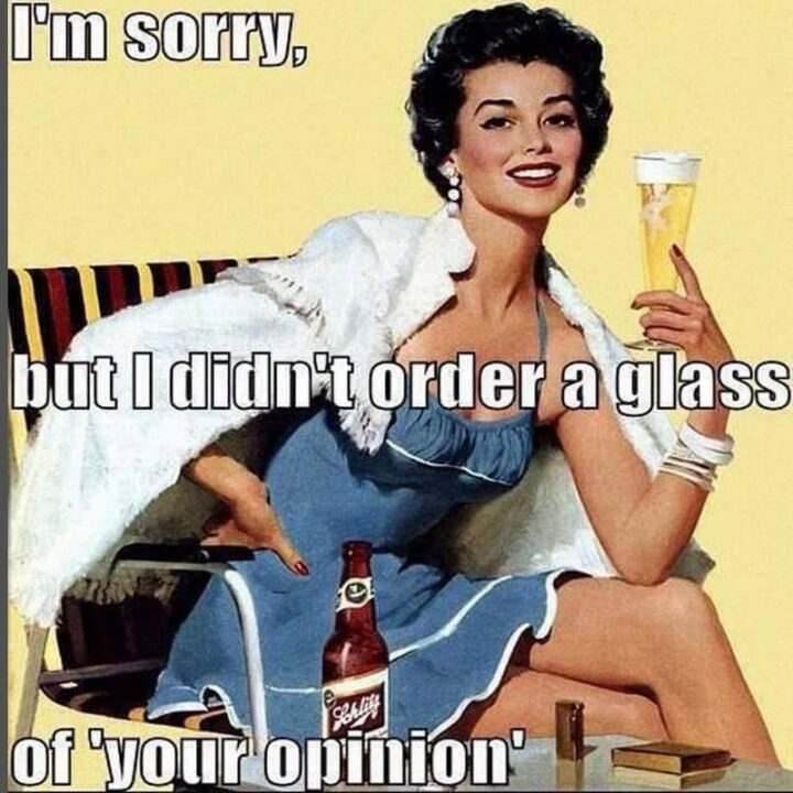 """""""I'm sorry, but I didn't order a glass of your opinion."""""""