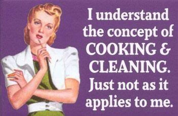 """""""I understand the concept of cooking and cleaning. Just not as it applies to me."""""""
