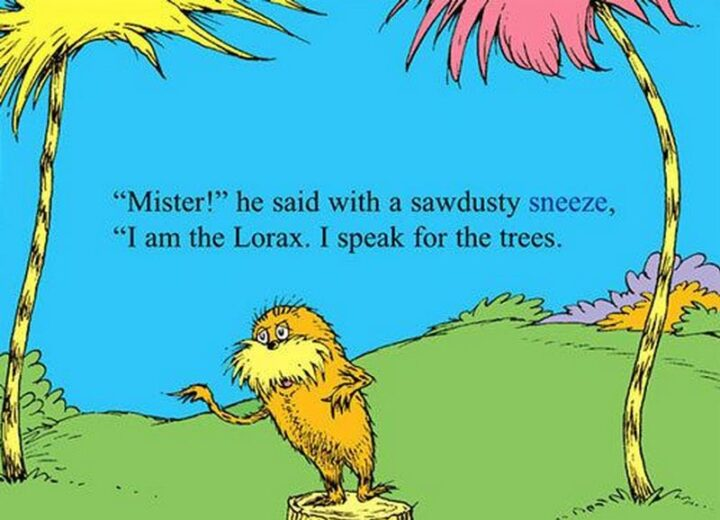"""""""'Mister!' he said with sawdust sneeze, 'I am the Lorax. I speak for the trees.'"""" - Dr. Seuss, The Lorax"""