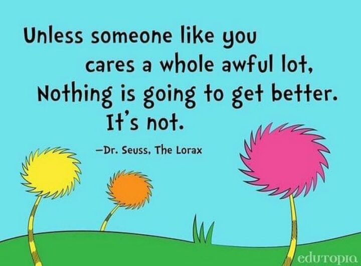 """""""Unless someone like you cares a whole awful lot, Nothing is going to get better. It's not."""" - Dr. Seuss, The Lorax"""