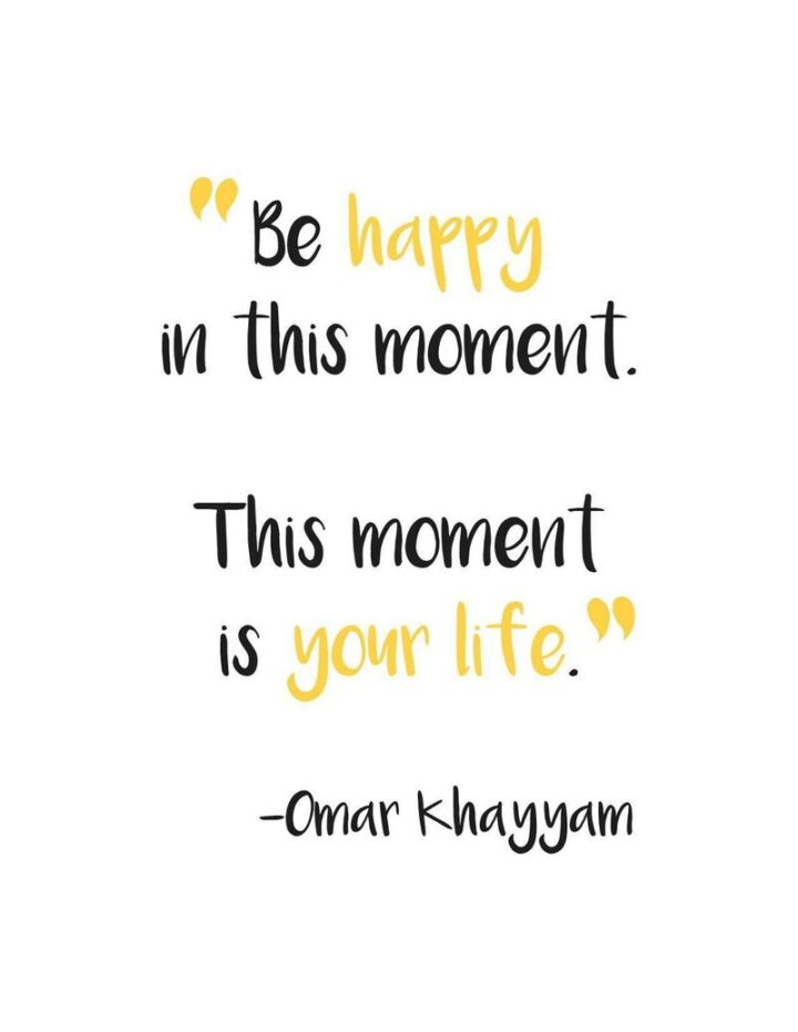 """""""Be happy for this moment. This moment is your life."""" - Omar Khayyam"""