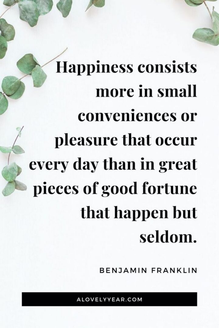 """""""Happiness consists more in conveniences of pleasure that occur everyday than in great pieces of good fortune that happen but seldom."""" - Benjamin Franklin"""